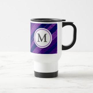 Purple Diagonal Stripes Travel Mug