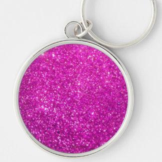 Purple Diamond Glitter Silver-Colored Round Keychain