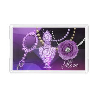 Purple Diamond Perfume & Hand Mirror Acrylic Tray
