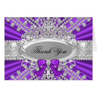 Purple Diamond & Tiara Thank You Card