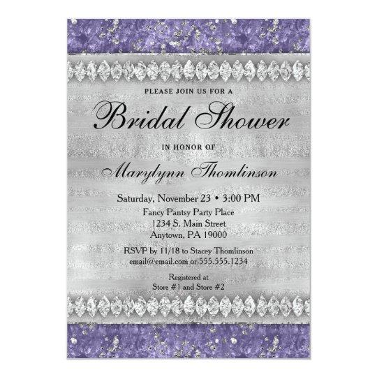 Purple Diamonds Bridal Shower Invitation Silver