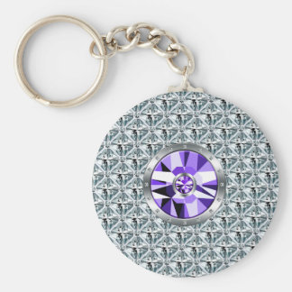 Purple Diamonds Pattern And White Gold Keychain