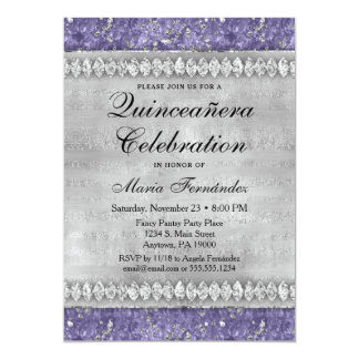 Purple Diamonds Quinceañera Invitation Silver Glam