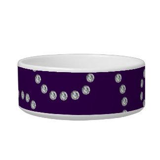Purple diamonds swirls cat water bowls