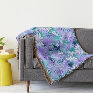 Purple Digital Daisies Throw Blanket