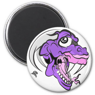 Purple Dino Head 2 Inch Round Magnet