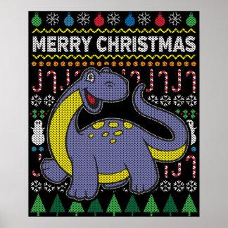 Purple Dino Ugly Christmas Sweater Wildlife Series Poster