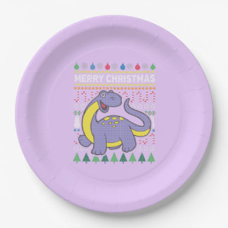 Purple Dino Wildlife Merry Christmas Ugly Sweater Paper Plate
