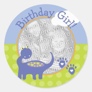 Purple Dinosaur Birthday Girl with Dots Photo Classic Round Sticker
