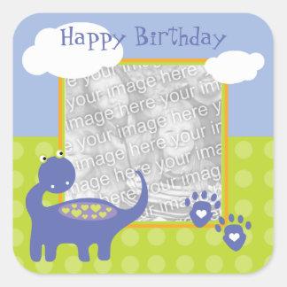 Purple Dinosaur Birthday with Dots Photo Square Sticker