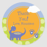 Purple Dinosaur Birthday with Dots Thank You Round Sticker