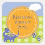 Purple Dinosaur Birthday with Dots Thank You Square Sticker