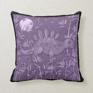 Purple Dinosaur Kids Throw Pillow