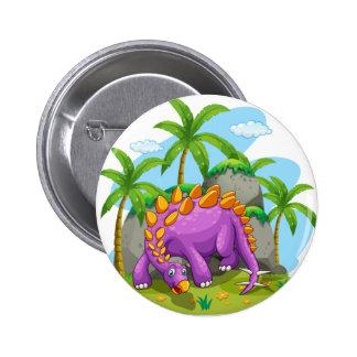 Purple dinosaur standing on the ground 2 inch round button