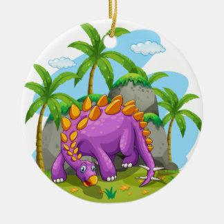 Purple dinosaur standing on the ground ceramic ornament