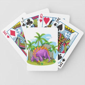 Purple dinosaur standing on the ground poker deck