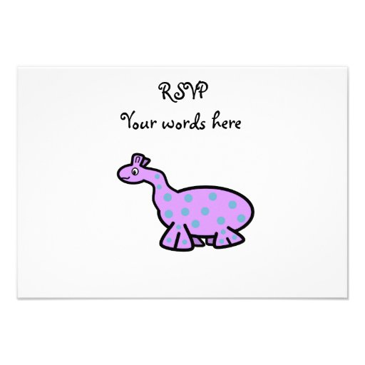 Purple dinosaur with blue spots personalized invitations
