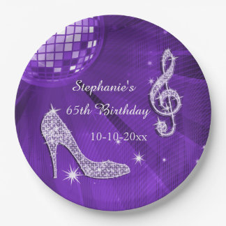 Purple Disco Ball and Heels 65th Birthday 9 Inch Paper Plate
