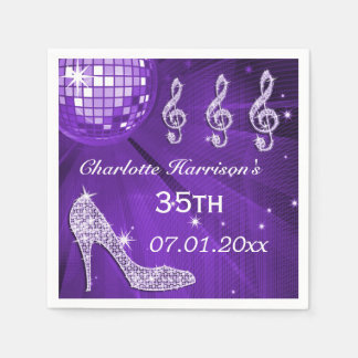 Purple Disco Ball and Sparkle Heels 35th Disposable Napkins