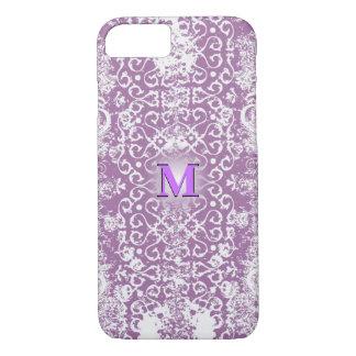Purple Distressed 3D Monogram iPhone 7 Case