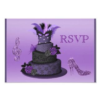 Purple Diva Cake, Sparkle High Heels RSVP Card