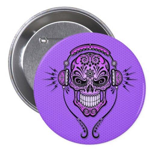 Purple DJ Sugar Skull Button