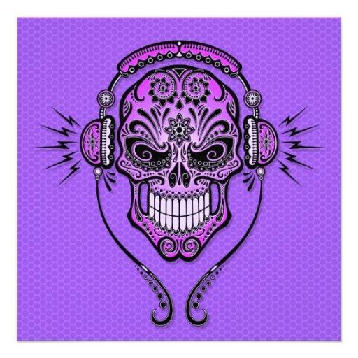 Purple DJ Sugar Skull Invitations