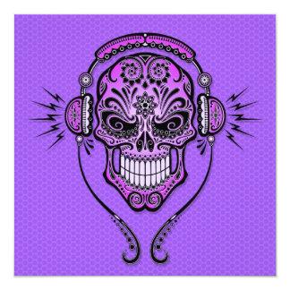 "Purple DJ Sugar Skull 5.25"" Square Invitation Card"