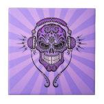 Purple DJ Sugar Skull with Rays of Light