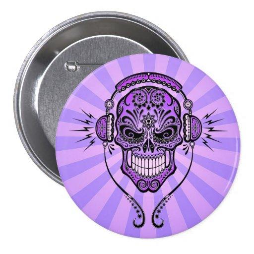 Purple DJ Sugar Skull with Rays of Light Pinback Buttons