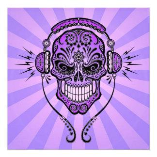 Purple DJ Sugar Skull with Rays of Light Invites