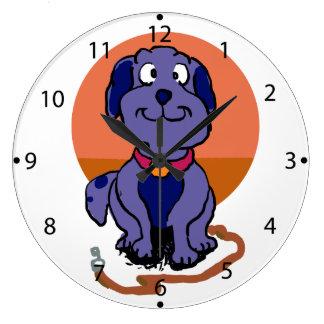 Purple dog large clock