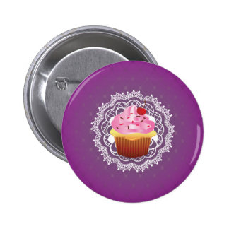 Purple Doilies and Cupcake 2 Inch Round Button