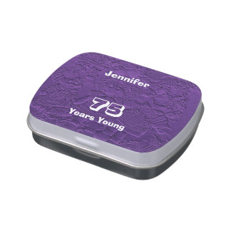 Purple Dolls Candy Tin Party Favor 75 Years Young