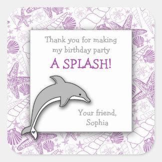 Purple Dolphin Birthday Party Favor Sticker