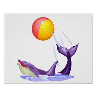 Purple dolphin playing with a ball. Circus Cartoon Poster