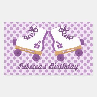 Purple Dots Roller Skates Birthday Stickers