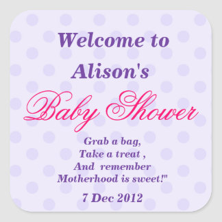 Purple Dotty Baby Shower Stickers