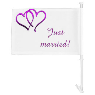 Purple Double Heart Just Married Car Flag