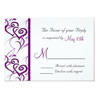"Purple Double Hearts Swirl Vines Wedding RSVP 3.5"" X 5"" Invitation Card"