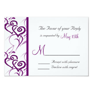 Purple Double Hearts Swirl Vines Wedding RSVP Card