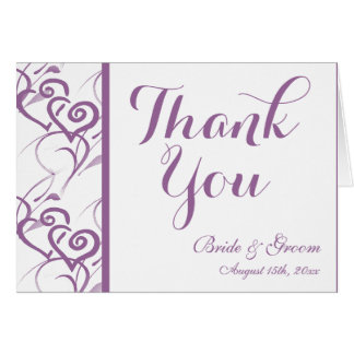 Purple Double Hearts Swirl Wedding Thank You Cards