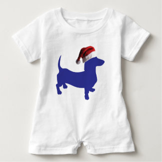 Purple-Doxie---And-Santa-Hat Baby Romper