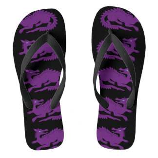 Purple Dragon Black Flip Flops