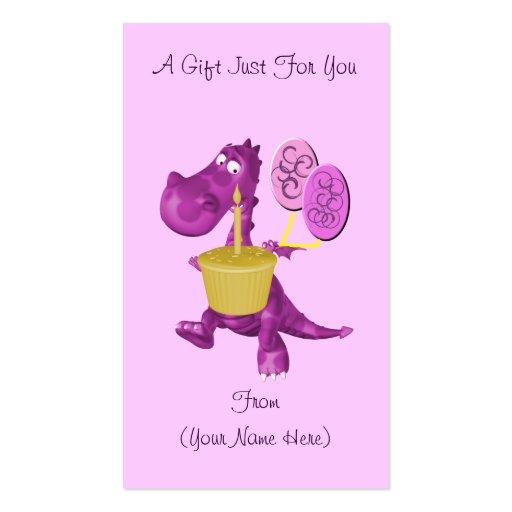 Purple dragon cupcake personalized gift card tag business for Personalized gift cards for businesses