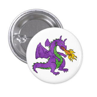 purple dragon throwing flames 1 inch round button