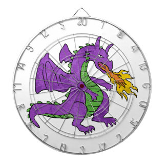 purple dragon throwing flames dartboard
