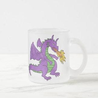 purple dragon throwing flames frosted glass coffee mug
