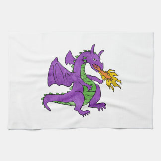 purple dragon throwing flames hand towels