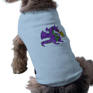 purple dragon throwing flames pet t shirt